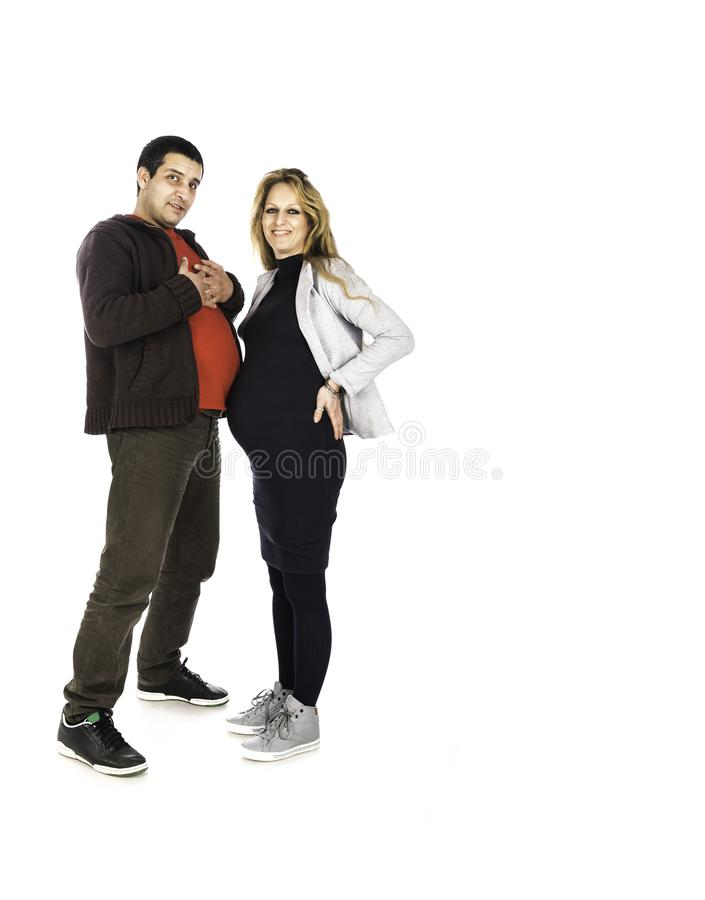 Man and Women Love Bellies Overlapping. royalty free stock photos