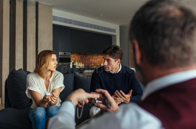 Couple during psychotherapy session stock photography