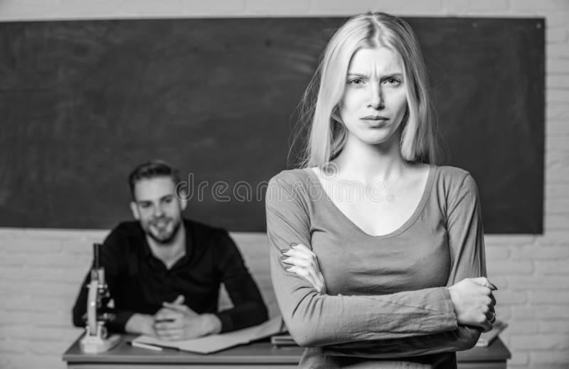 Man and woman study university. Right education. Mentorship and educational programs. Education bring opportunity better. Man and women study university. Right royalty free stock photos