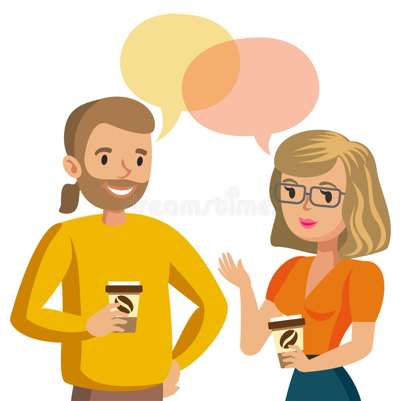 Man and women talking. Talk of couple or colleagues. Vector royalty free illustration