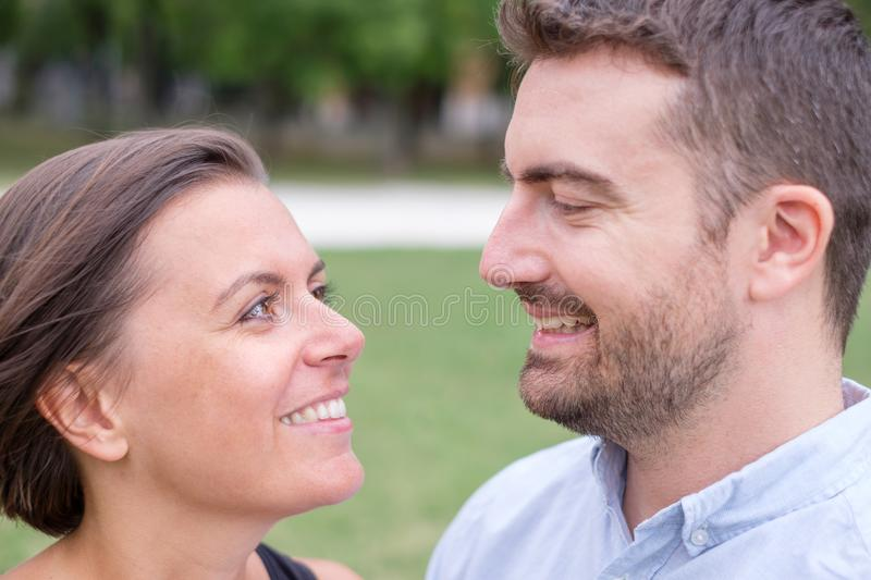 Couple of man and woman together portrait outdoor stock photo