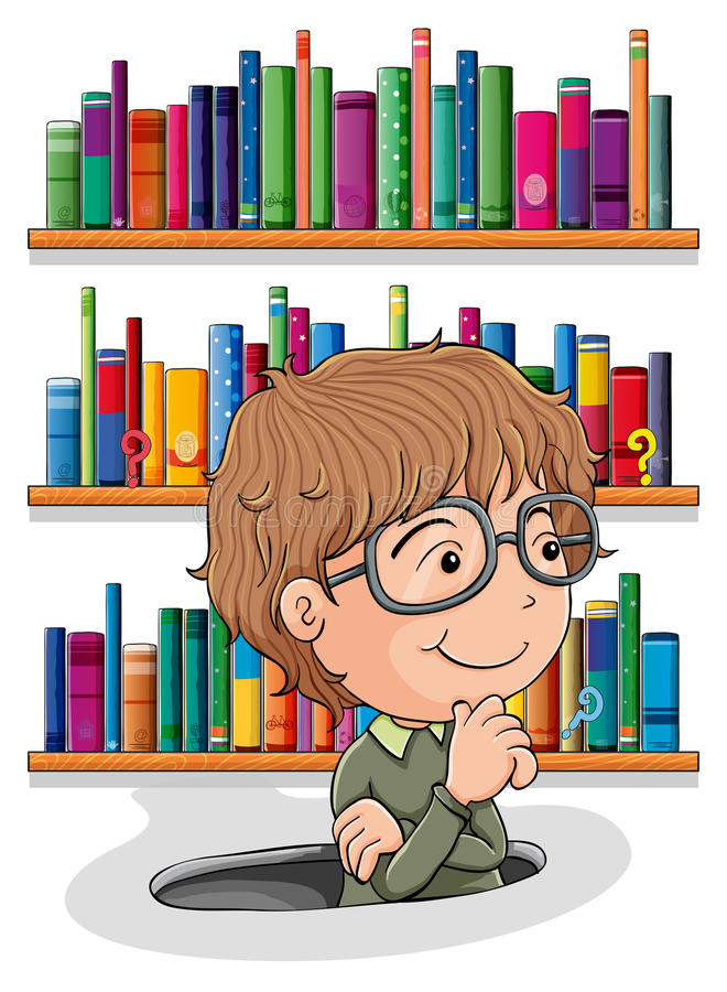 A man wondering inside the hole with books at the back royalty free illustration