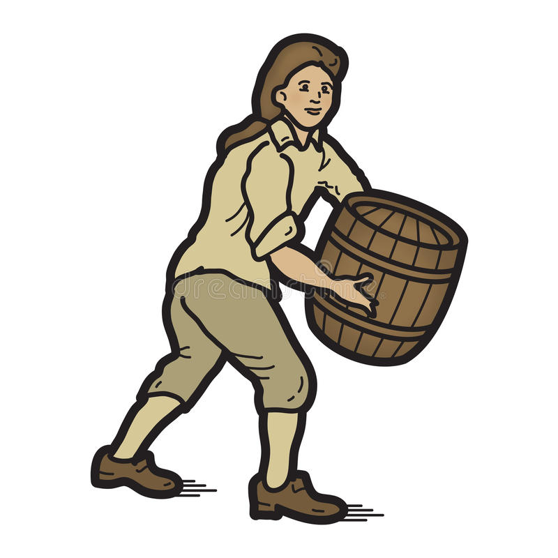 Man with Wood Barrel Long Hair. Worker man with long hair, from the 18th century, 1700's, holding wood gunpowder barrel, could be filled with other supplies such royalty free illustration