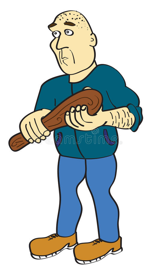 Man with wooden stick