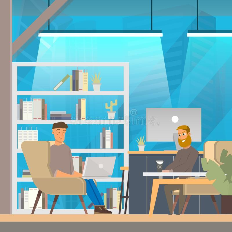 Man Work in Openspace Coworking Office stock illustration