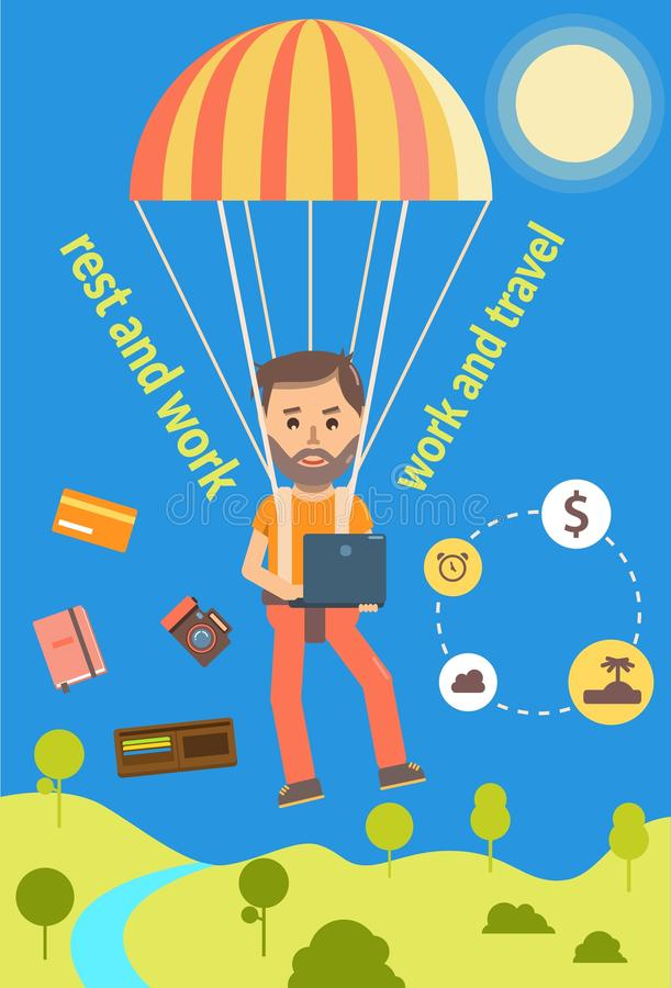 Man on work and travel. Freelance job with active rest vector illustration