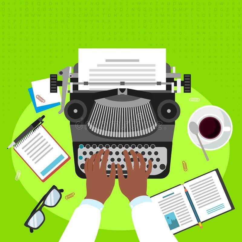 Man work typewriter concept background, flat style. Man work typewriter concept background. Flat illustration of man work typewriter vector concept background royalty free illustration
