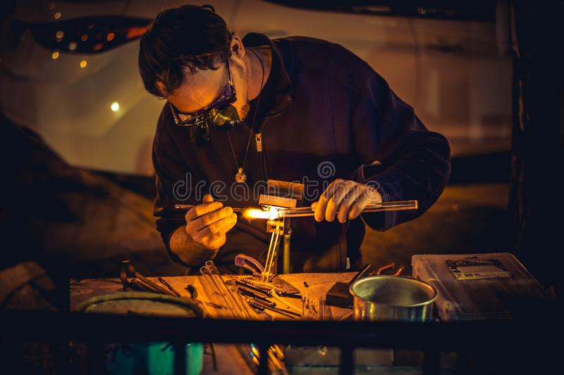 Man on workbench royalty free stock photography
