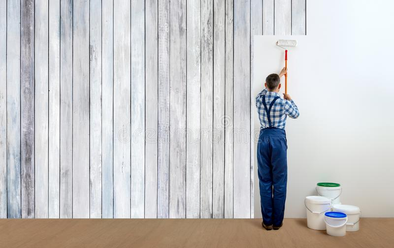 Man worker - painter royalty free stock images