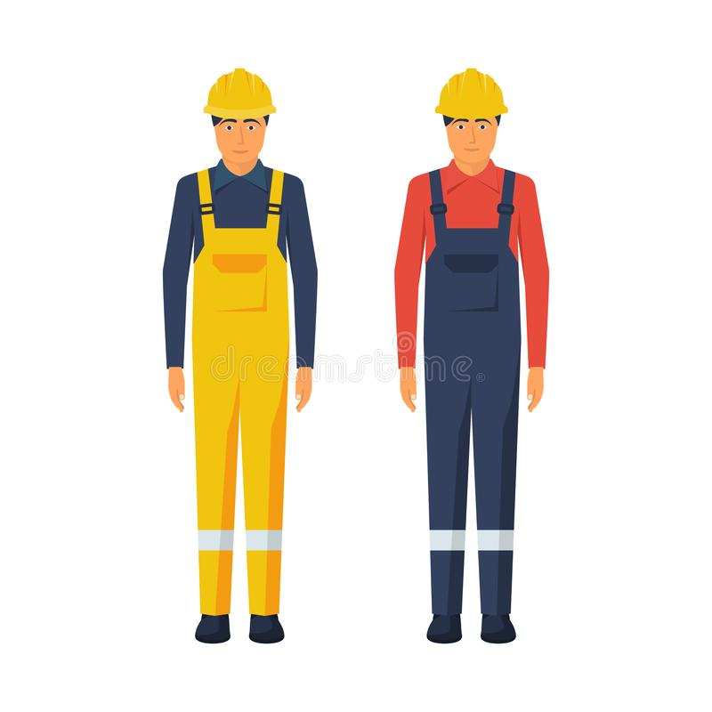 Man worker. Protective uniform and safety helmet. Vector illustration flat design. Isolated on white background. Cartoon style vector illustration