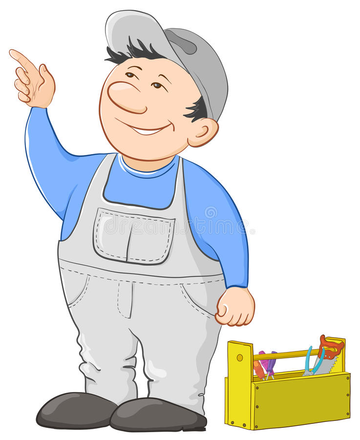 Man worker with a toolbox. Man worker in a cap and a uniform with a toolbox vector illustration