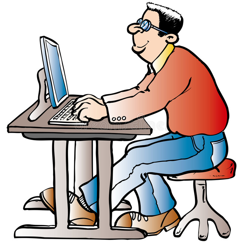 Man working at the Computer vector illustration