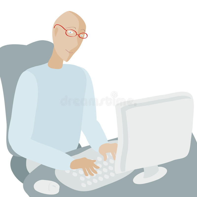Download Man working at computer. stock vector. Image of office - 27171928