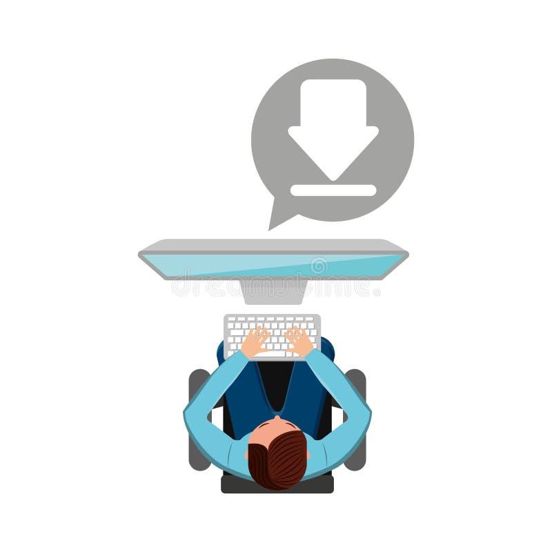Man working computer download media design. Vector illustration eps 10 vector illustration