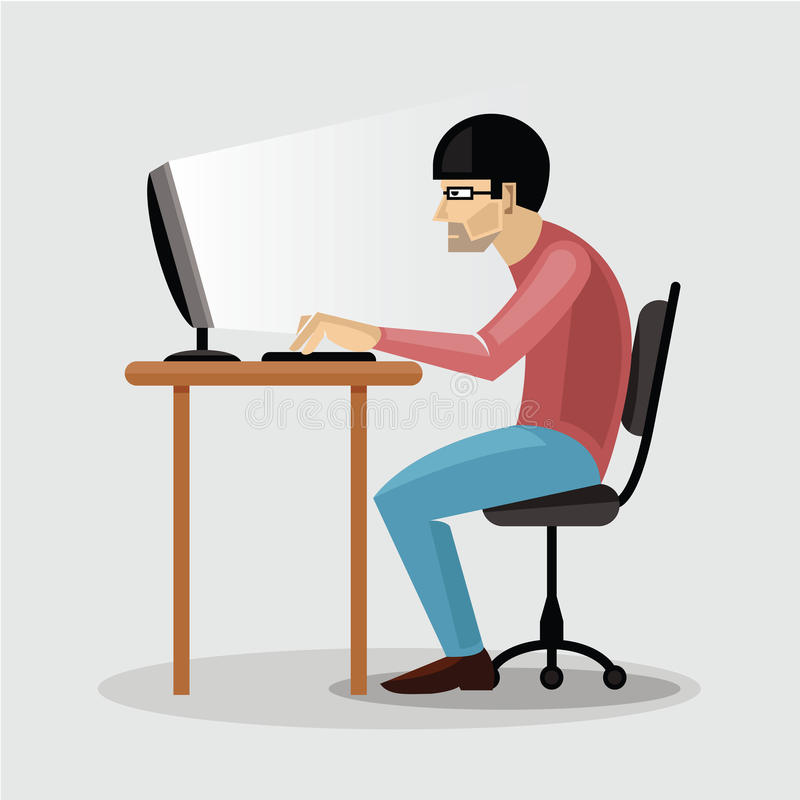 Man working on computer stock vector. Illustration of ...