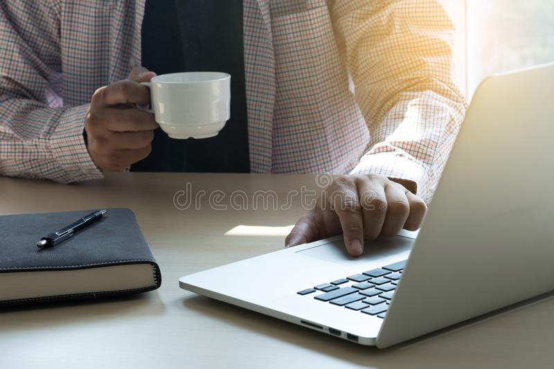 man working computer table hand touching laptop business strategy analysis concept royalty free stock photography