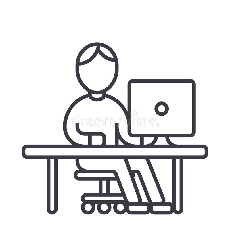 Man working at computer at table vector line icon, sign, illustration on background, editable strokes. Man working at computer at table vector line icon, sign royalty free illustration