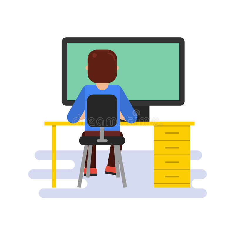Man working with computer. Vector flat illustration of sitting man working with big computer at yellow desktop. Back view. Suitable design for animation royalty free illustration