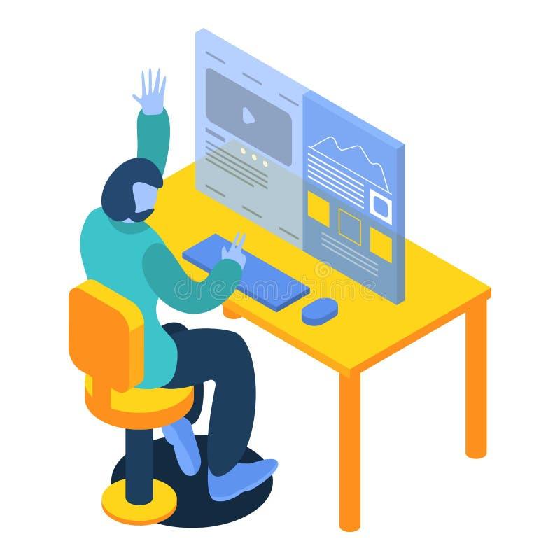 Man working on desktop computer icon, isometric style vector illustration