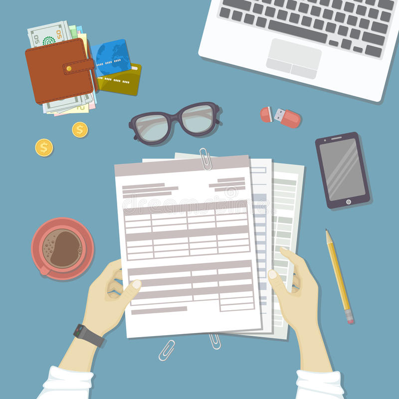 Man working with documents. Human hands hold the accounts, bills, tax form. Workplace with papers, blanks, forms, phone, wallet royalty free illustration