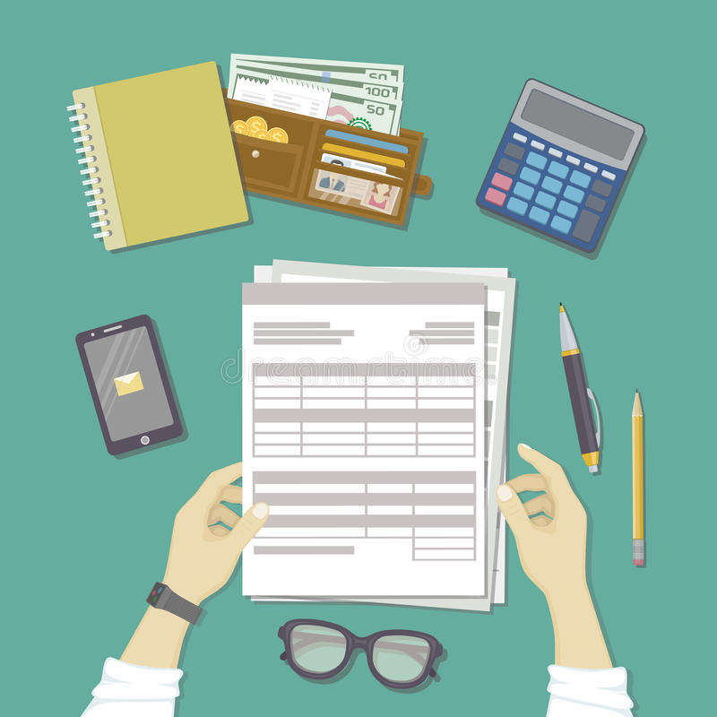 Man working with documents. Human hands hold the accounts, payroll, tax form. Workplace with papers, blanks, forms, phone. Man working with documents. Human stock illustration