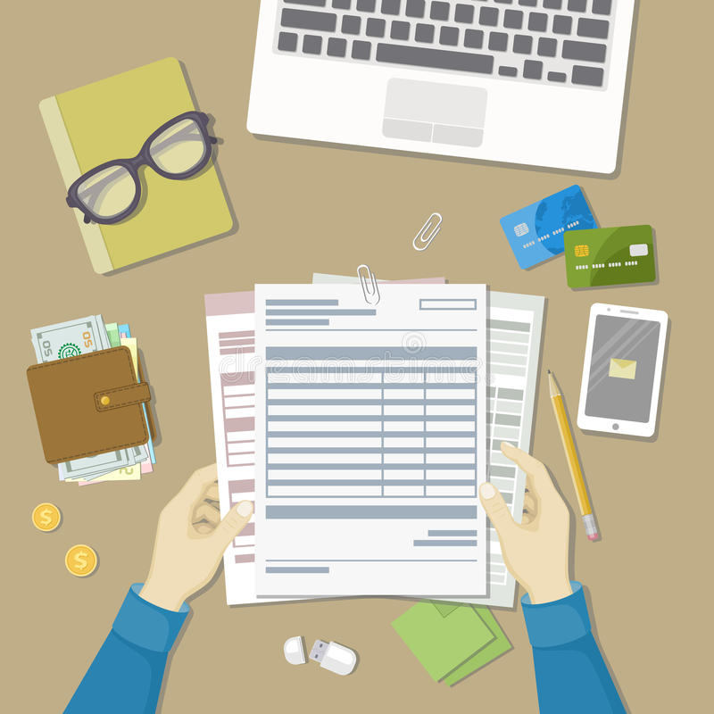 Man working with documents. Human hands hold the accounts, payroll, tax form. Workplace with papers, blanks, forms, phone. With message, wallet with money stock illustration