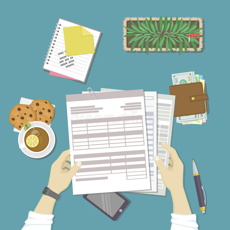 Man working with documents. Human hands hold the accounts, payroll, tax form. Workplace with papers, blanks, forms, phone, wallet. With money, notebook with stock illustration