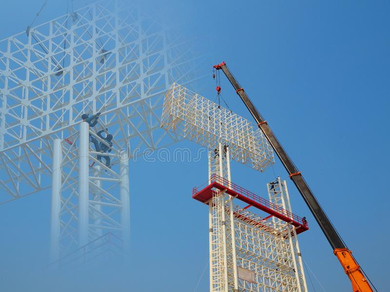 Man Working on the Working at height. On blue sky stock photography