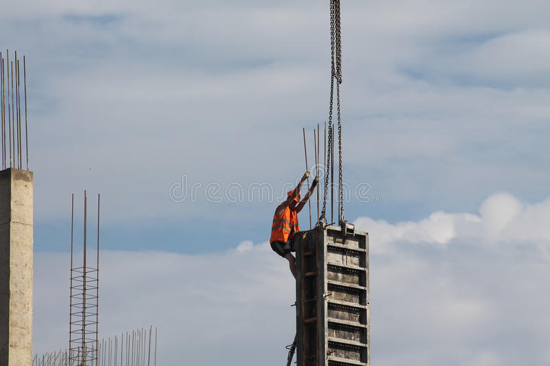Man working at height stock image