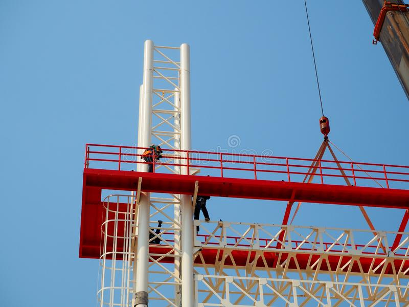 Man Working on the Working at height stock photos