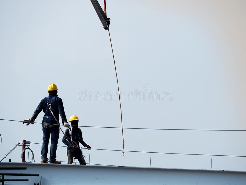 Man Working on the Working at height stock photography