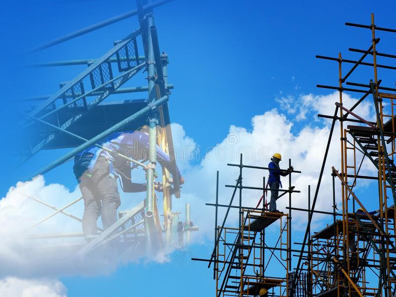 Man Working on the Working at height royalty free stock photos