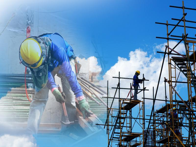 Man Working on the Working at height stock photo