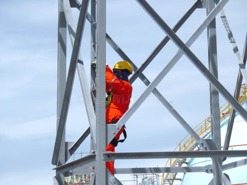 Man Working on the Working at height. royalty free stock photos