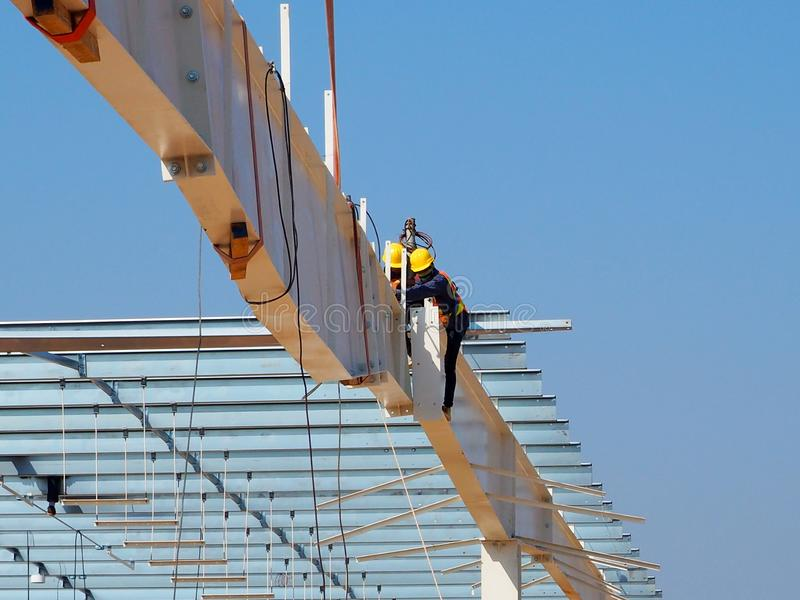 Man Working on the Working at height. In Thailand stock photo