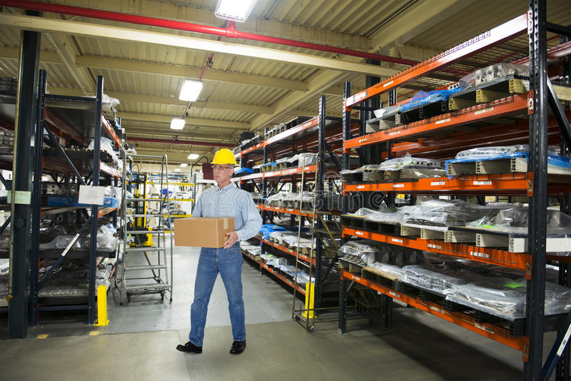 Man Working in Industrial Manufacturing Warehouse stock photos