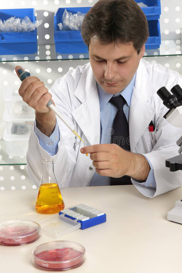 Man working in a laboratory stock images