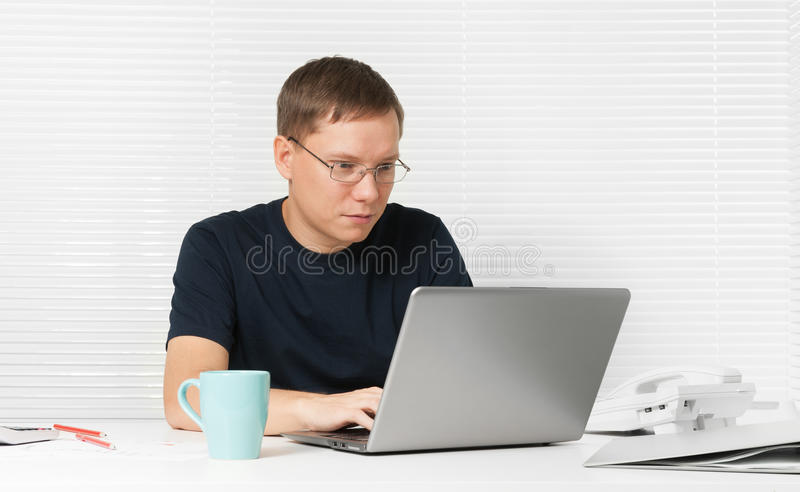 Download Man working with laptop stock image. Image of knowledge - 26408103