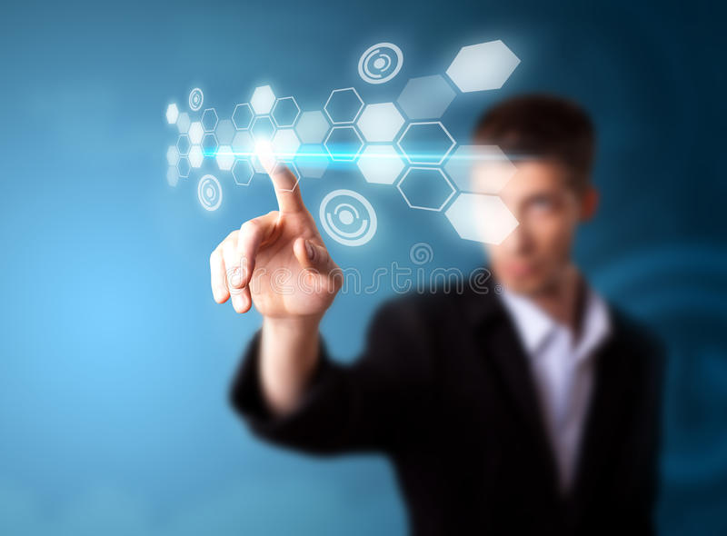 Man working on modern technology. A businessman working on modern technology, selective focus royalty free stock images