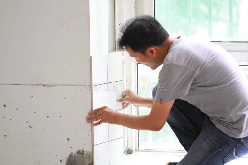 Bathroom tiles renovation stock photos