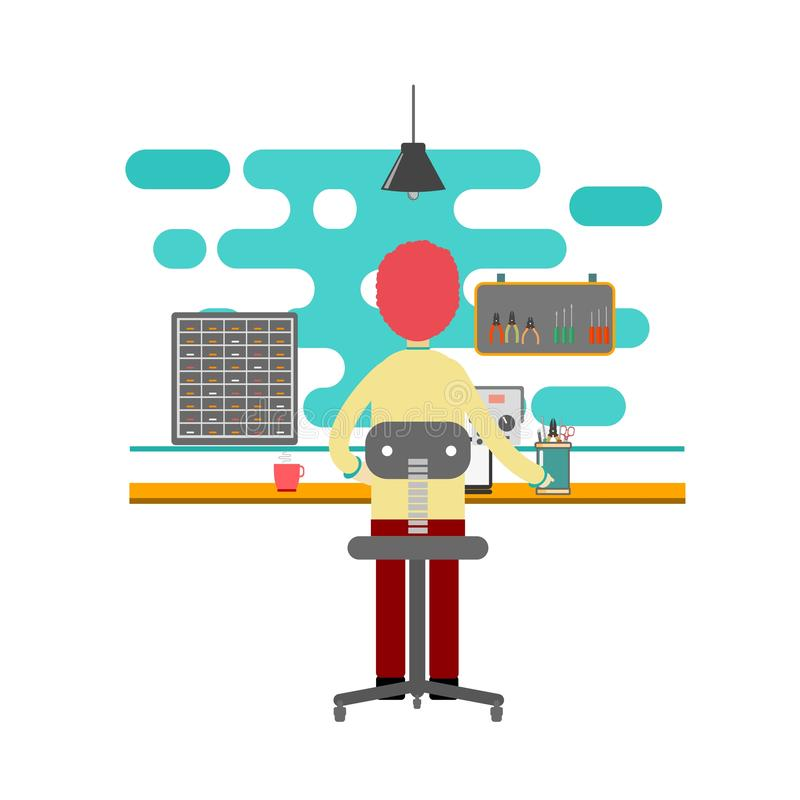 Man working in the office as computer technician. flat design vector royalty free illustration