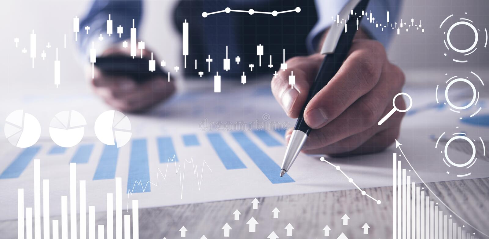 Man working in office. Financial growth graphs. Sales increase stock image