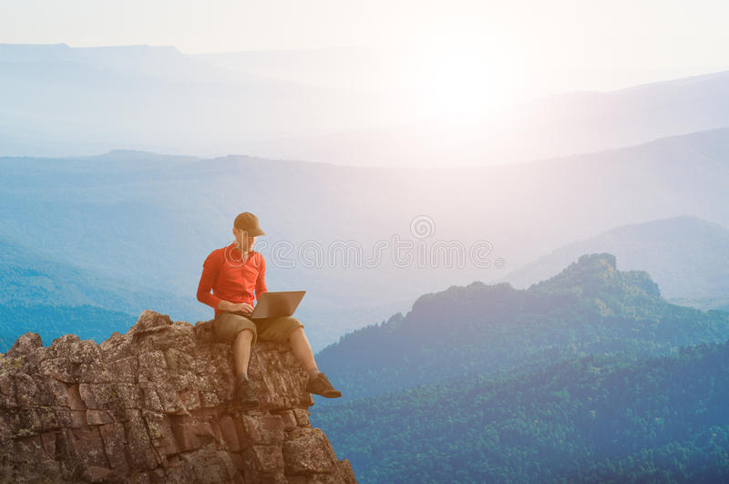 Download Man working outdoors stock image. Image of mountains - 25752881