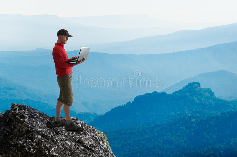 Man working outdoors royalty free stock image