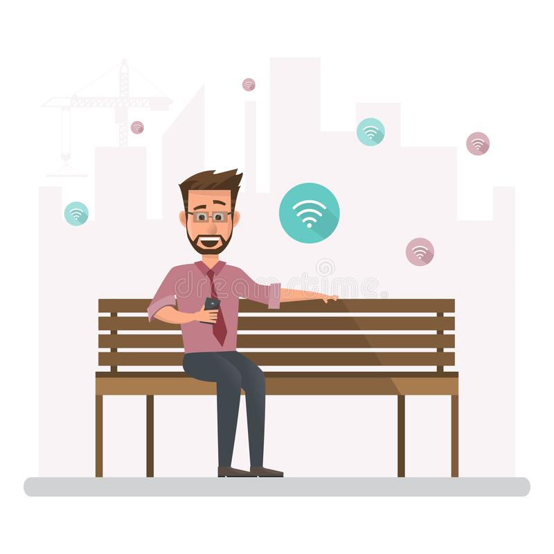 Man working outside his office concept illustration. Businessman character sitting connect wifi with smartphone on public chair vector illustration