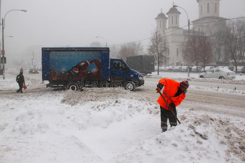 Download Man Working At Snow Removal Editorial Stock Photo - Image: 37446798