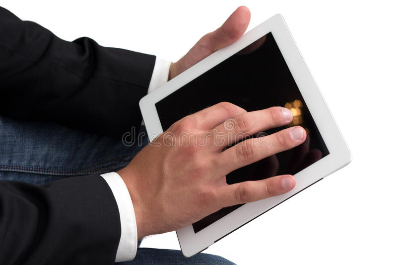 Man working on a tablet pc stock image