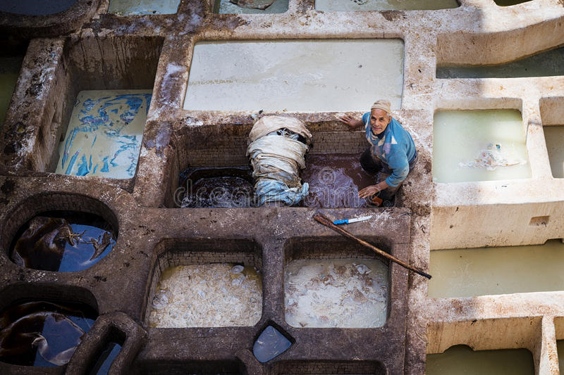 Man working in a tannery in the city of Fez in Morocco. Fez, Morocco - April 11, 2016: One man working in a tannery in the city of Fez in Morocco stock photography