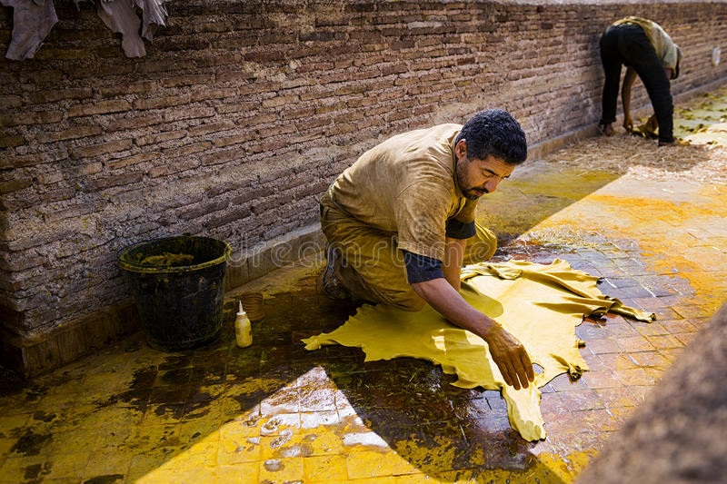 Man working in a tannery in the city of Fez in Morocco. Fez, Morocco - April 11, 2016: One man working in a tannery in the city of Fez in Morocco royalty free stock image
