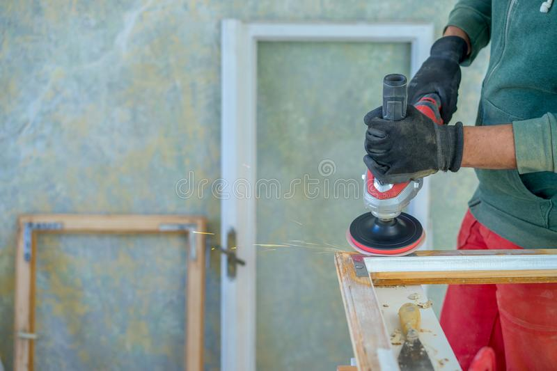 Old window frame restoration royalty free stock photography